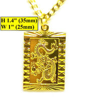"""18k Yellow Gold 20"""" Curb Link Chain Necklace And Dragon Pendant + GiftPkg D503"""