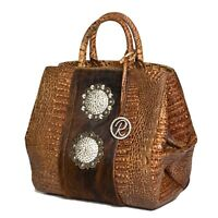 Raviani Bucket Satchel in Brown croco & Hair on cowhide leather W/crystal Concho