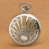 Russian mechanical pocket watch MOLNIJA 3602 blued hands embossed Sun motif