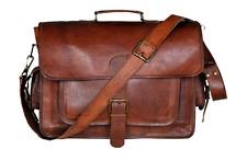 "Genuine Leather Laptop Bag Handmade Vintage 15"" Messenger Briefcase w/ Strap NEW"