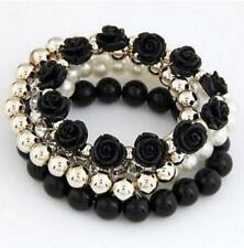 Betsey Johnson Enamel Fashion Jewelry Charm Pearl Beading Multi-layer bracelet