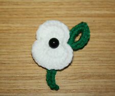 HANDMADE CROCHET WHITE POPPY REMEMBRANCE DAY POPPY  BROOCH