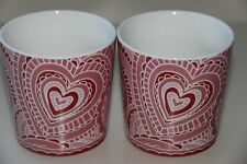 STARBUCKS 2005 TWO LARGE MUGS - RED & PINK HEARTS - FOR VALENTINE'S OR ANY DAY
