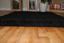 Small Plain Soft Shaggy Rug Thick 5cm Extra Pile Non Shedding 57x110cm Rugs Black