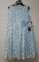 Popatu Girls Sleeveless Dress, Blue With Flower Detail Size 6x/7