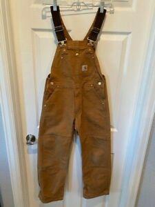 BOYS $75 CARHARTT DUCK COTTON OVERALLS PANTS WORKWEAR FARM SMALL W35X25.5L EUC!!
