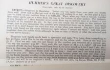 Vintage 1939 Hummer'S Great Discovery - M Kanter - Magic Card Trick