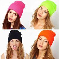Unisex Men Women Knit Hats Winter Warm Beanie Solid Cap One Size Oversized Plain