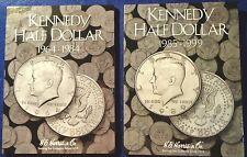 HE Harris Kennedy Half Dollar Coin Folders Volumes #1 & 2 1964-1999 Album Books