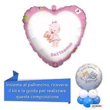 CENTROTAVOLA BATTESIMO BIMBA Palloncino mylar Cuore Rosa Addobbi Feste ed eventi