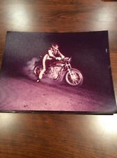1960'S Color Print DRAG RACING, MAN ON MOTORCYCLE,NIGHT VIEW