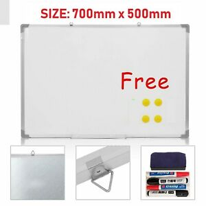 WHITEBOARD MAGNETIC DRAWING BOARD & ERASER DRY WIPE  OFFICE NOTICE 700 X 500 MM