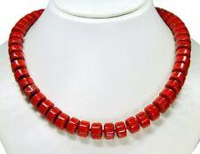 Wunderschöne Halskette ausJaspis in Buttonform 49 cm lang einzeln geknotet