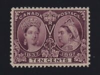 Canada Sc #57 (1897) 10c brown violet Diamond Jubilee Mint VF NH