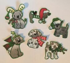 Christmas Puppies - Holiday Iron On fabric appliques, dogs