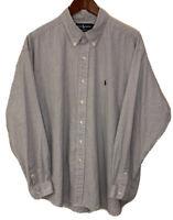 Men's Polo Ralph Lauren Blue Plaid Button Down Shirt Size XL L/S Blake