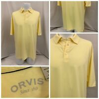 Orvis Shirt L Yellow Polo Short Sleeve 100% Cotton Made In Peru EUC YGI P9-66