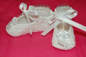 Handmade Thread Crochet Shoes for Baby  -Little Lady White -Available in 2 sizes