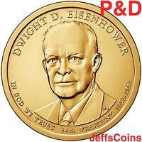 2015 P&D Dwight D Eisenhower President Golden Dollar U.S.MINT Roll 2 Coin DP Set
