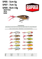 Rapala Skitter Pop® Fishing Lure 5cm - 9cm  7g - 14g Various Colours