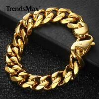 15mm Gold Plated 316L stainless steel Curb Bracelet Mens Chain Link Jewelry 8/9""