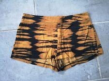 H&M Leopard Tiger Animal Print Low Waisted Satin Mini Hot Pant Shorts Silver Zip