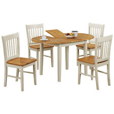 Oak & White Oval Extending Extendable Dining Table and Chair Set with 4 Seats