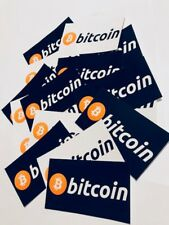 "2 pack - Bitcoin Logo Sticker High Gloss black/white 2"" x 3.5"" decal stickers"