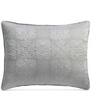 Martha Stewart Embroidered Silky Satin Standard Pillow Sham Grey $70