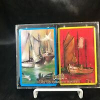 Vintage GUILD Plastic Coated Bridge Playing Cards Sail Boats