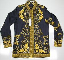 NWT New GIANNI VERSACE Navy/Gold Silk Printed Baroque Dress Shirt IT 46 US 36/S