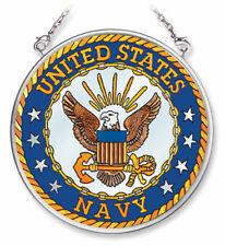 "United States Navy Sun Catcher Amia 3.5"" Round New Hand Painted Glass"