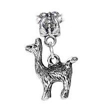 Alpaca Zoo Farm Animal Llama 3D Dangle Charm for Silver European Bead Bracelets