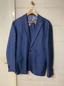$499 MJ Bale Manacor Twill Jacket Linen Cotton Blue Blazer Sport Coat 42 Slim