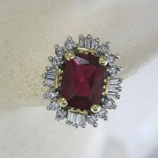 LADIES 14K TWO-TONE GOLD DIAMOND AND SYNTHETIC RUBY EARRINGS; 3.5G 0.24CT.