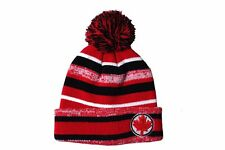 COLORED Stripes , RED MAPLE LEAF On Brim TOQUE Hat With POM POM .. MOMENTO..New