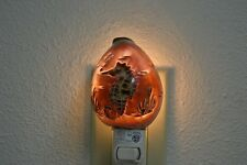 CARVED TIGER COWRIE SEAHORSE SEA SHELL NIGHT LIGHT KITCHEN #7856