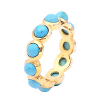 4.95 Ct Round Turquoise Cabochon Gemstone 925 Sterling Silver Gold Rhodium Ring
