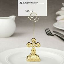 6 Gold Cross Place Card Holders Wedding Party Favors Baptism Christening Mw70032