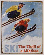VINTAGE SKI ART POSTER METAL SIGN Snow Sports Alpine Snowboard NEW Retro Tin USA