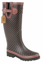 Ladies Funky Festival Wellies Polka Dot Wide Calf Fit Rainy Snow Wellingtons