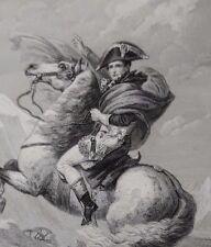 Belle Gravure  31 x 24 Empire NAPOLEON  BONAPARTE  CHEVAL DAVID ALPE ST BERNARD