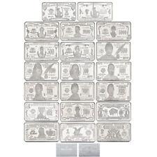 WR 20x Full Set of US Dollars Bill Notes Silver Bullion Art Bar $1 - $10000000