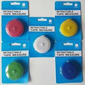 Retractable Dressmaker's Tape Measures 60 inch ~ 150cm In Assorted Colours
