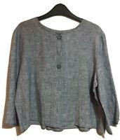 EVA TRALALA UK 12/14 Quirky Linen Blazer Coat Jacket Chambray Lagenlook Artsy