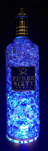 """Three Sixty Vodka Flaschen Lampe mit LED Podest """"Bubble"""" Upcycling Geschenk Idee"""