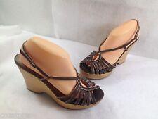 Steve Madden Wedge Platform Strappy Sandals Shoes Brown Leather 10 M