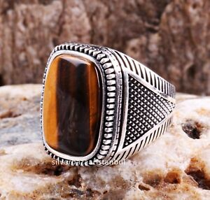 Tigers Eye Stone Turkish Jewelry Solid 925 Sterling Silver Men Ring ALL SİZE 060