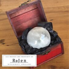 7cm Selenite Crystal Ball sphere with Red Chest & Stand Scrying Divination Pagan