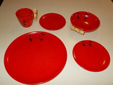 5 pc Place Setting Ebonyte Melmac Dishes by LaMoyne - Red w/Black ~ Nice! Set A